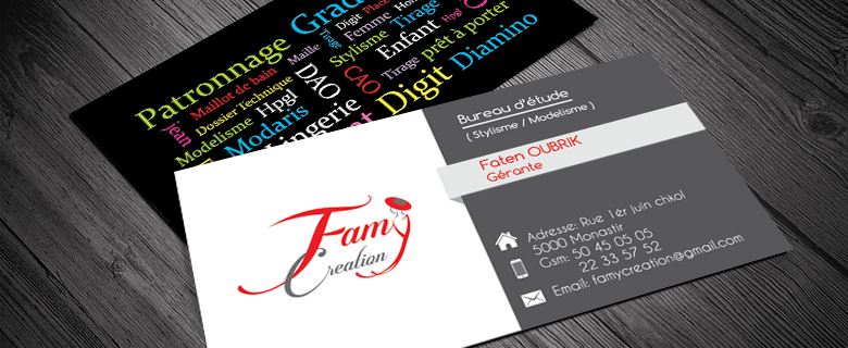 Carte visite de Famy Creation