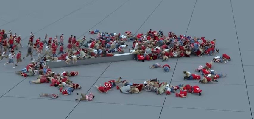 Logiciel 3D: Chute collective d'une foule :D